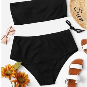 SHEIN plus ribbed bandeau high waist swim set